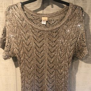 Daytrip sparkly open weave sweater Medium